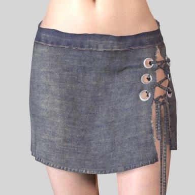 200615 tied denim skirt