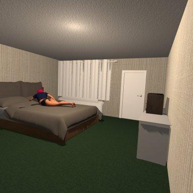Motel Room with working bathroom door