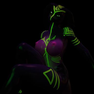 Neon Glowing Snake Girl