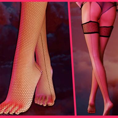 Fishnet Stockings with Garter