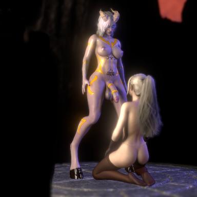 Draeinei female pov (fpov) blowjob, thigh fuck and face fuck