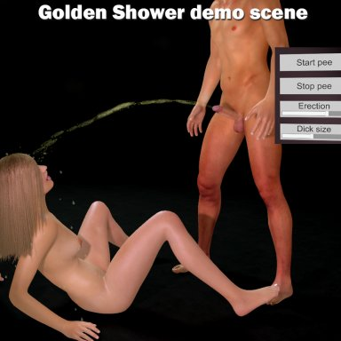 Golden shower demo scene using the New 50s pee fluid setup v1