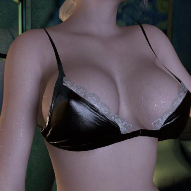 Pvc bra with lace trim & presets