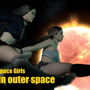 VAM - Space girls experiencing Zero-G in outer space